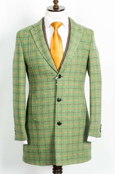 Finitura Felice - Green wool slim fit overcoat with orange and coffee brown plaid