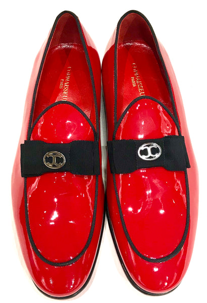 Connaisseur - Red patent leather dress loafer with logo