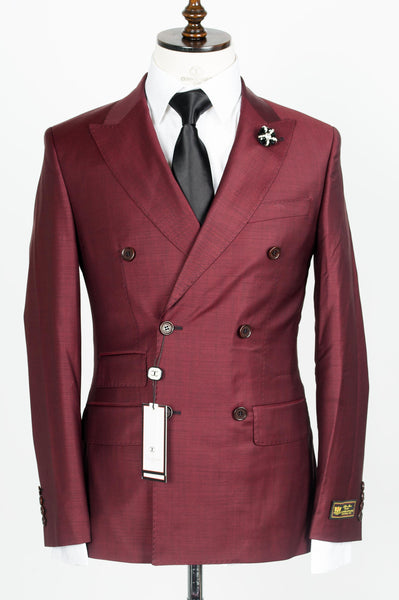 Connaisseur - Burgundy Double Breasted Slim fit 2-piece suit