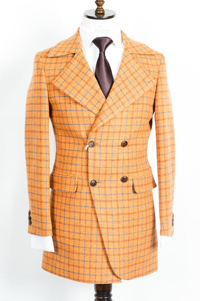 Finitura Felice - Merigold Orange wool slim fit double-breasted overcoat with blue plaid