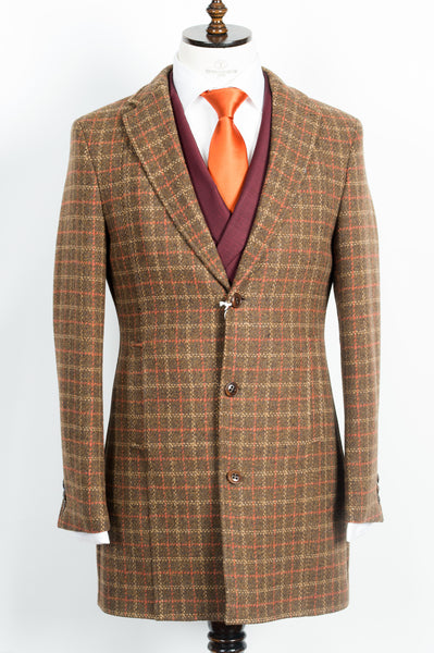 Finitura Felice - Brown wool slim fit overcoat with orange and tan plaid