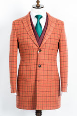 Finitura Felice - Orange wool slim fit overcoat with green and coffee brown plaid