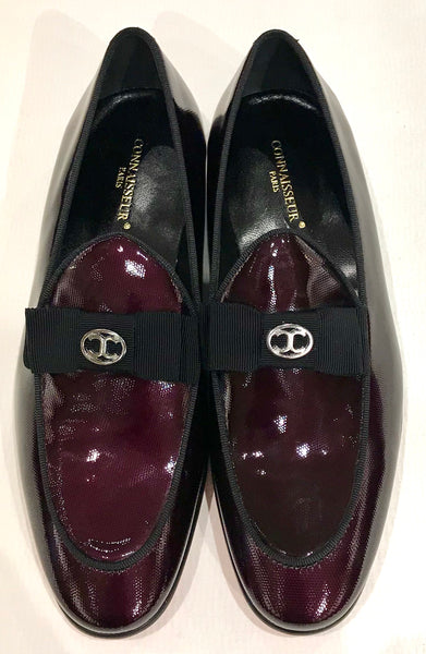 Connaisseur - Burgundy patent leather dress loafer with logo