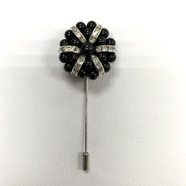 Black beads and Crystal Lapel Pin