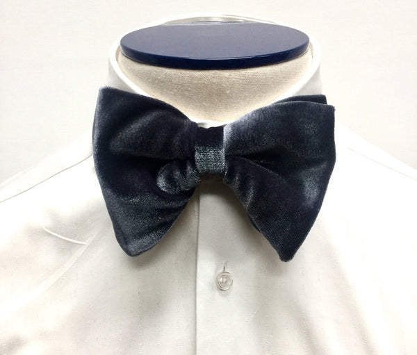 Grey Velvet Butterfly Bow Tie