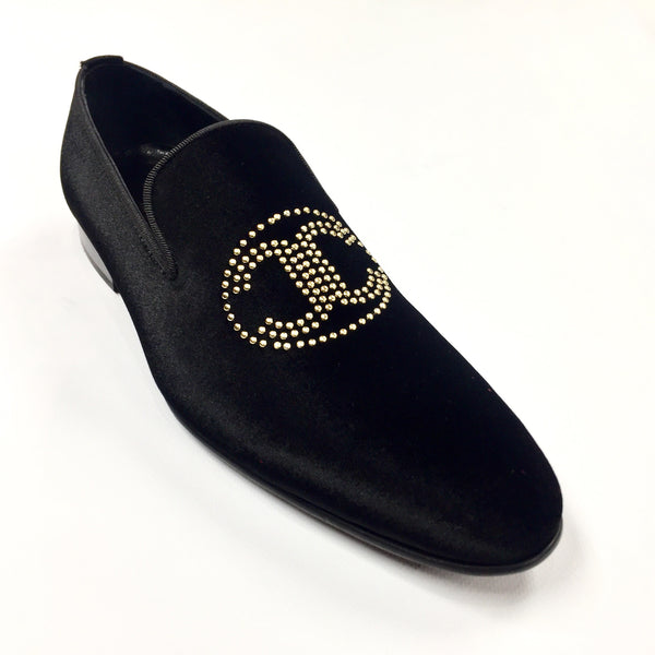 Connaisseur -  Black Velvet Logo Loafer Dress Shoes