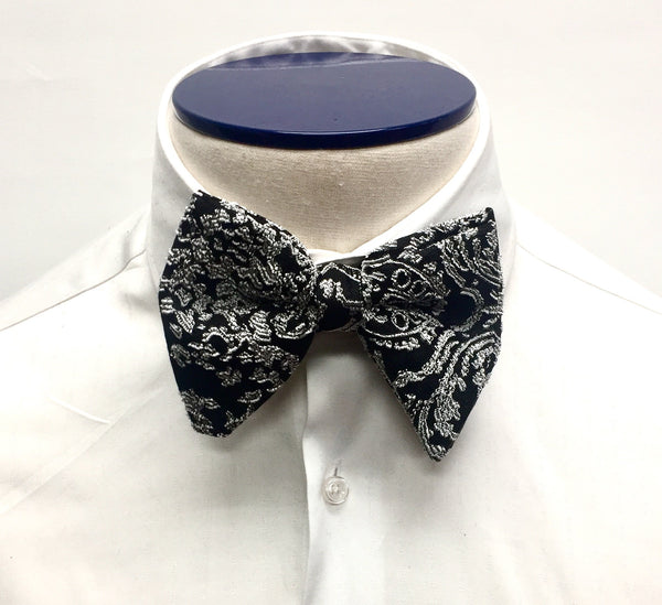 Ivory and Black Silk Butterfly Bow Tie