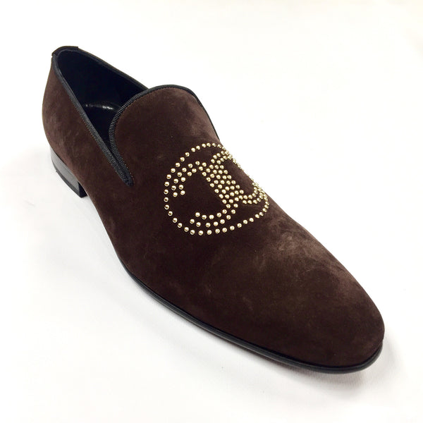 Connaisseur -  Brown Suede Logo Loafer Dress Shoes