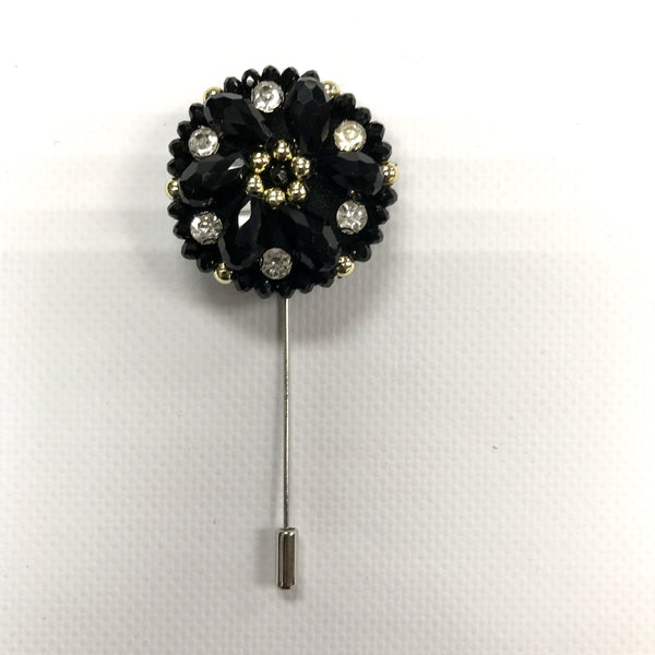 Black Crystal Lapel Pin
