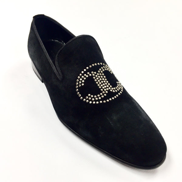 Connaisseur -  Black Suede Logo Loafer Dress Shoes