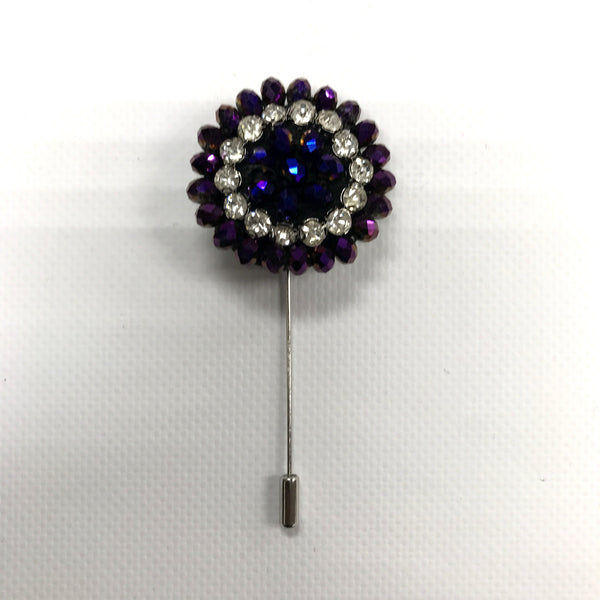 Purple Crystal Lapel Pin