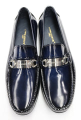 Connaisseur - Navy Blue patent leather loafer with metal detail on the instep