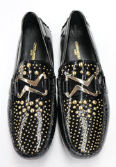 Connaisseur - Black patent leather loafer with gold studs