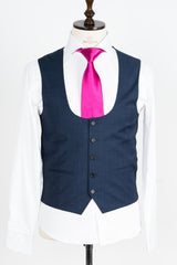Connaisseur - Navy Blue 3-Piece Slimfit Suit with U vest