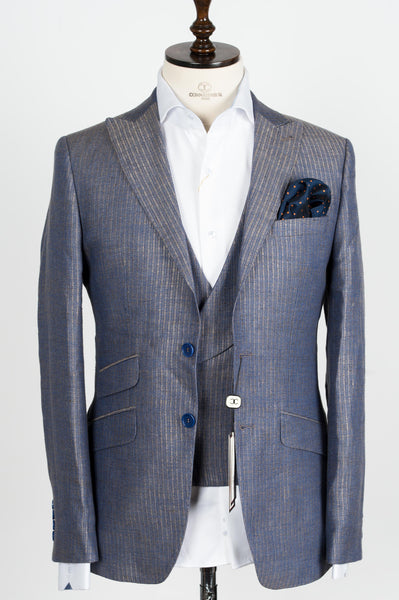 Connaisseur - Finitura Felice Tan and blue stripe pattern Slim Fit Jacket with double breasted vest