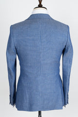 Connaisseur - Finitura Felice blue and grey stripe pattern Slim Fit Jacket with double breasted vest
