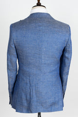 Connaisseur - Finitura Felice Blue and Grey twill Slim Fit Jacket with double breasted vest