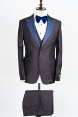 Connaisseur - Coffee brown with blue spots Slim Fit Tux