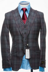 Connaisseur - Light Grey Plaid Flannel 3-Piece slim Fit Suit