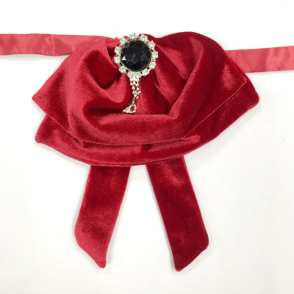 Red Velvet Fluffy Bow Tie