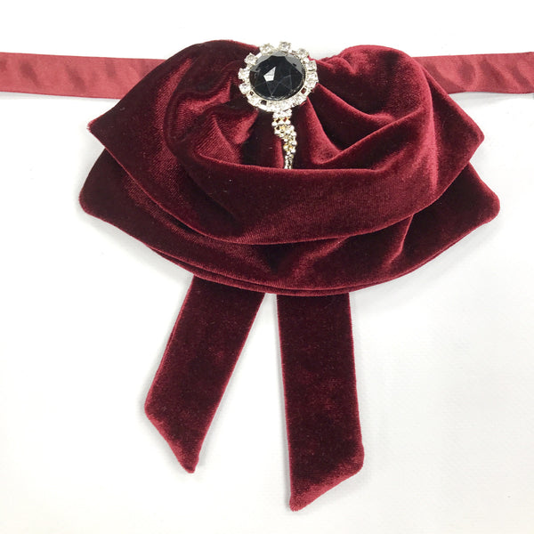 Burgundy Velvet Fluffy Bow Tie