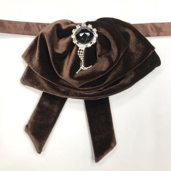 Coffee Brown Velvet Fluffy Bow Tie