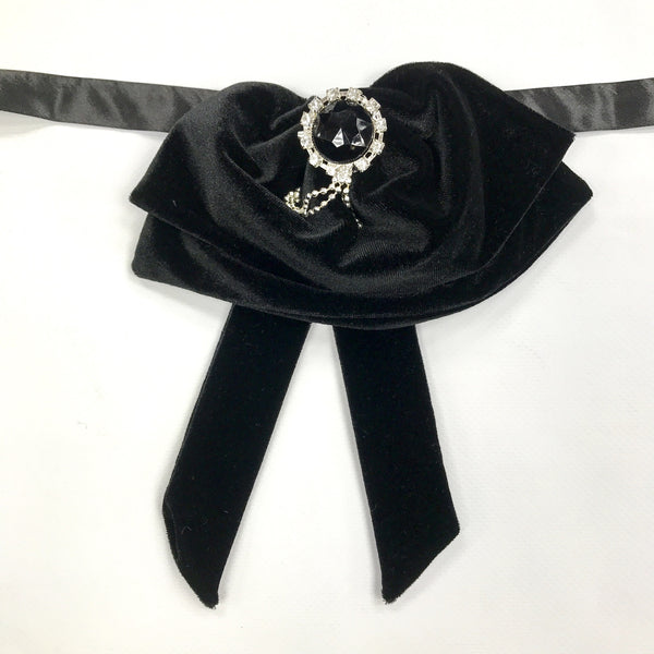 Black Velvet Fluffy Bow Tie