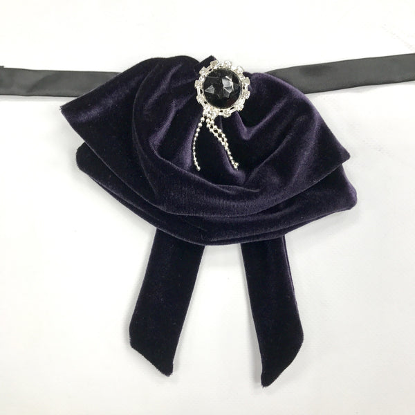 Deep purple Velvet Fluffy Bow Tie