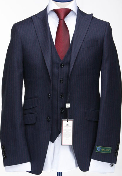 Connaisseur Cashmere Navy Blue Pin Stripe 3-Piece Suit