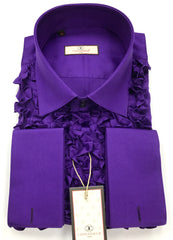 Connaisseur - Purple Ruffle Slim Fit Shirt