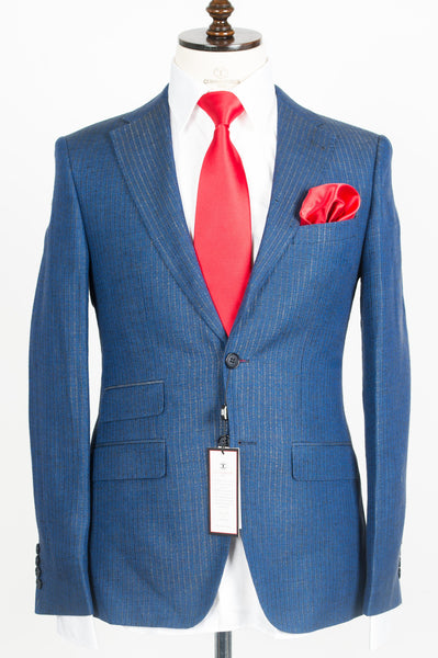 Finitura Felice - Blue with Brown pattern stripes 2-Piece Suit