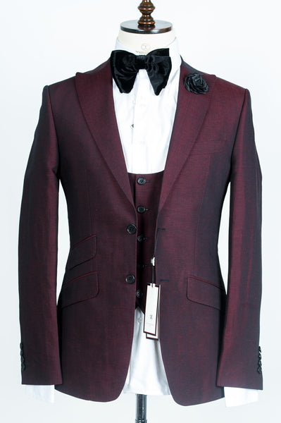 Connaisseur - Burgundy 3-Piece Slimfit Suit with U vest