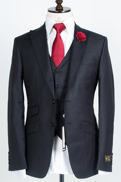 Connaisseur - Dark Grey With Burgundy Pinstripe 3-Piece Slimfit Suit