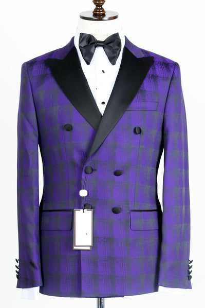 Connaisseur - Purple and Black Plaid Double Breasted tuxedo