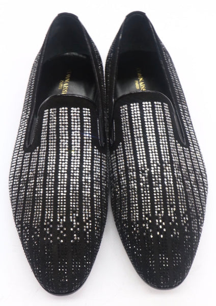 Connaisseur - Black suede with stripes silver Studs loafer