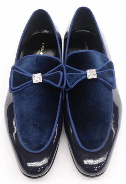 Connaisseur - Navy blue patent leather and velvet dress loafer