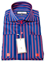 Connaisseur - Navy with Red Pin stripe raised spread collar Slim Fit Shirt