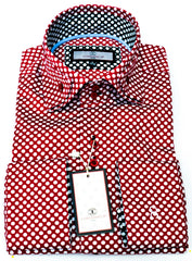 Connaisseur - Burgundy with white Polka Dots Double Collar slim fit shirt