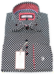 Connaisseur - Black with White Polka Dots Double Collar slim fit shirt