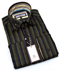 Connaisseur - Black Multi Color Houndstooth Double Collar slim fit shirt