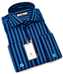 Connaisseur - Navy with Royal Blue Pin stripe raised spread collar Slim Fit Shirt