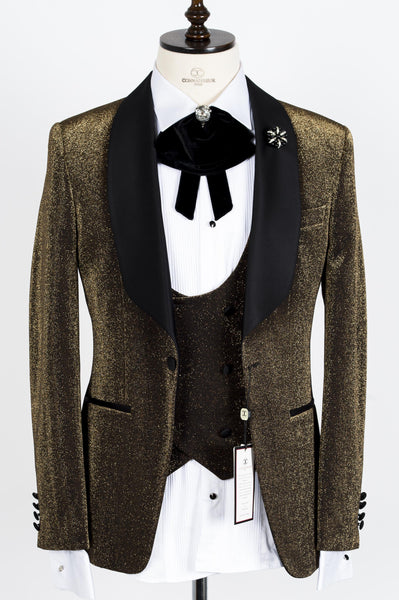 Connaisseur - Gold Glittering Pattern Tux with Double Breasted Vest