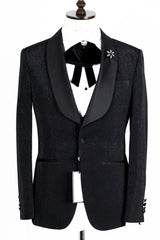 Connaisseur - Black Glittering Pattern Tux with Double Breasted Vest