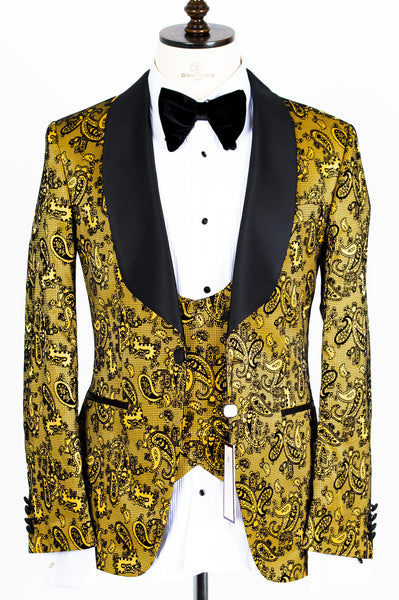 Connaisseur - Gold Paisley Pattern Tux with Double Breasted Vest