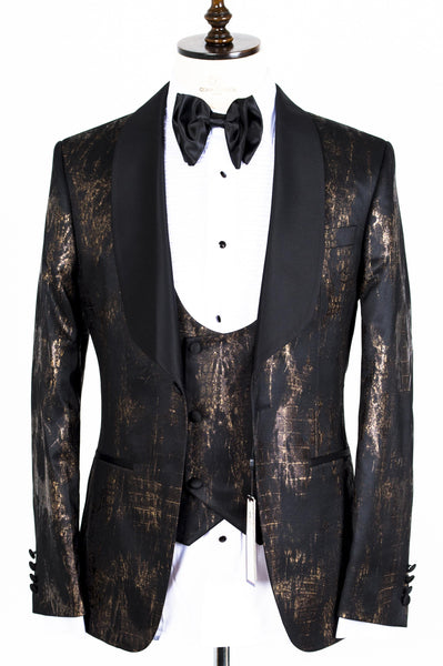 Connaisseur - Gold and Black camouflage Pattern Tux with Double Breasted Vest