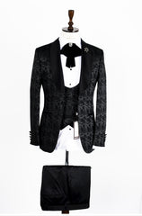 Connaisseur - Black scroll Pattern Tux with Double Breasted Vest