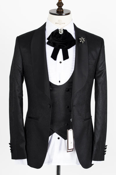 Connaisseur - Black Paisley Pattern Tux with Double Breasted Vest