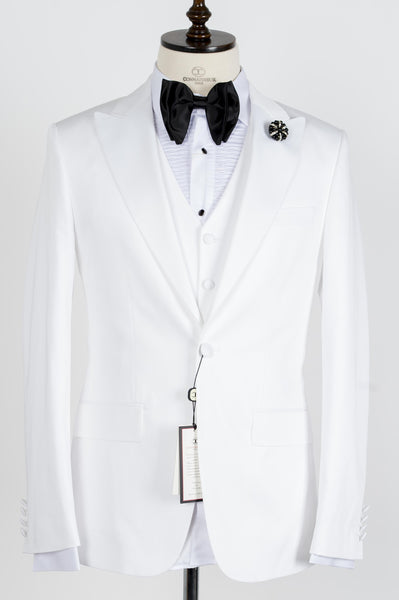 Connaisseur - White Peak Lapel Slim Fit Tux