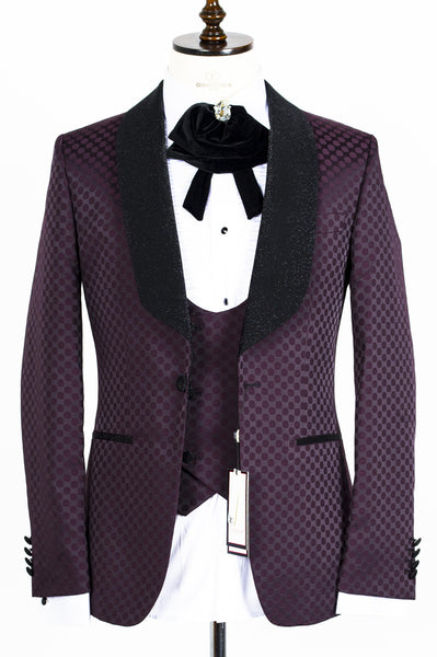 Connaisseur - Burgundy Polka Dot Tux with Double Breasted Vest