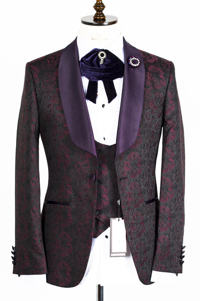 Connaisseur - Burgundy and Black floral Pattern Tux with Double Breasted Vest